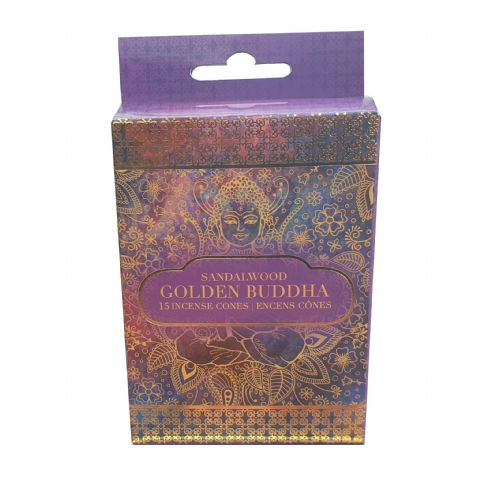 Golden Buddha Sandalwood Scented Indian Incense Cones Sifcon (Pack of 15)
